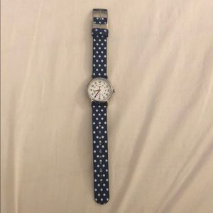 Timex Blue and White Polka Dot Watch